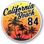California Malibu Beach 1984 Surfer Surfing Design Vinyl Car Sticker Decal  95x95mm
